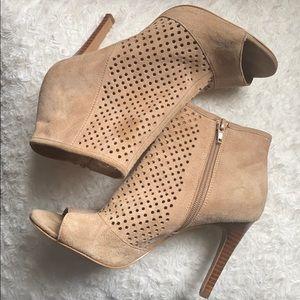 Audrey Brooke's peep toe suede booties, size 7.5